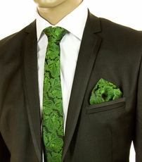 Green and Black Paisley SLIM Tie Set by Paul Malone (Slim567H)