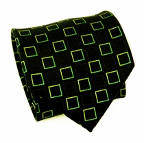 Green and Black Paul Malone Silk Necktie (961)