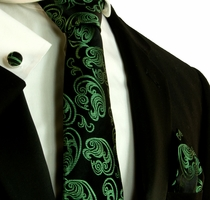 Green and Black Silk Necktie Set by Paul Malone (591CH)