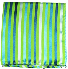 Green and Blue Mens Silk Pocket Square (H530)