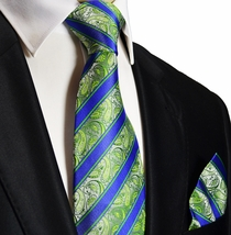 Green and Blue Silk Tie and Pocket Square . Paul Malone Red Line
