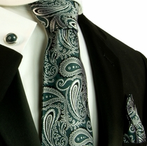 Green and Grey Paisley Silk Necktie Set by Paul Malone (562CH)