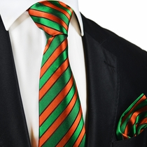 Green and Orange Silk Tie and Pocket Square by Paul Malone