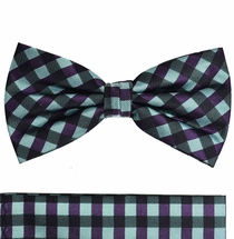 Green and Purple Checked Silk Bow Tie Set by Paul Malone (BT559H)