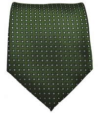 Green and Silver Polka Dot Men's Tie