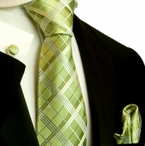 Green and Tan Plaid Necktie Set by Paul Malone (555CH)