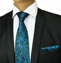 Green and Turquoise Paisley Silk Tie Set by Paul Malone Red Line