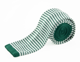 Green and White Knit Tie by Paul Malone (KN670)