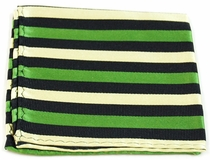 Green, Beige and Black Pocket Square . 100% Silk (H882)