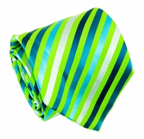 Green, Blue and Silver Striped Paul Malone Silk Tie (530)