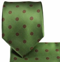 Green & Brown Polka Dots, Necktie & Pocket Square