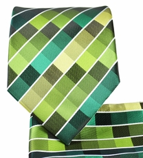 Green Checkered Necktie and Pocket Square