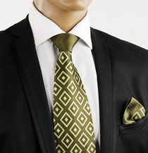 Green Contrast Knot Silk Tie by Steven Land