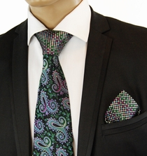 Green Contrast Knot Silk Tie Set by Steven Land