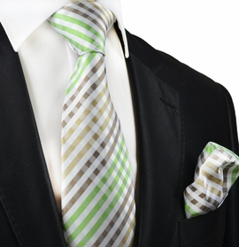 Green Gingham Silk Tie and Pocket Square by Paul Malone