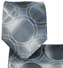 Grey Necktie and Pocket Square Set