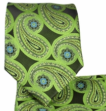 Green Paisley Necktie and Pocket Square