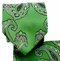 Green Paisley Necktie and Pocket Square (Q577-G)
