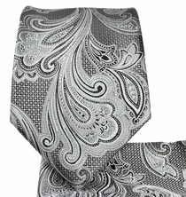 Grey Paisley Necktie and Pocket Square