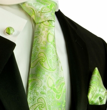 Green Paisley Necktie Set by Paul Malone (565CH)