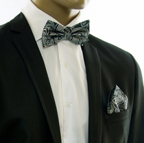 Green Paisley Silk Bow Tie and Pocket Square by Paul Malone (BT562H)