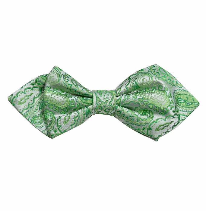 green paisley silk bow tie by paul malone line