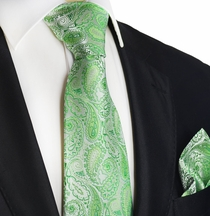 Green Paisley Silk Tie Set by Paul Malone Red Line