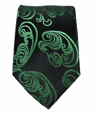 Green Paisley Slim Silk Necktie by Paul Malone