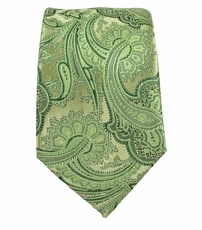 Green Paisley Slim Silk Tie by Paul Malone