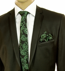 Green Paisley SLIM Silk Tie Set by Paul Malone (Slim591H)