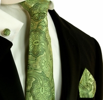 Green Patterned Silk Necktie Set by Paul Malone (799CH)