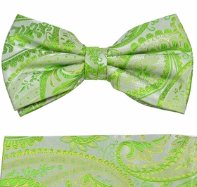 Green Paul Malone Paisley Bow Tie and Pocket Square Set (BT805H)
