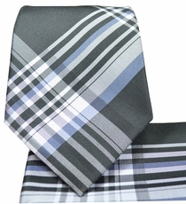 Grey Plaids Necktie and Pocket Square