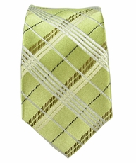 Green Plaid Slim Tie by Paul Malone . 100% Silk