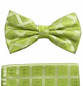 Green Silk Bow Tie and Pocket Square by Paul Malone (BT729H)