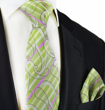 Green Silk Tie and Pocket Square by Paul Malone Red Line