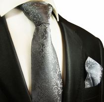 Grey Silk Tie and Pocket Square Set by Paul Malone Red Line