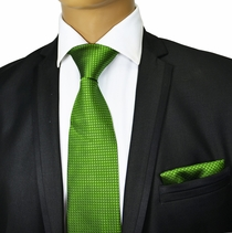 Green Silk Tie and Pocket Square . Paul Malone Red Line
