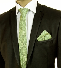Green SLIM Silk Tie Set by Paul Malone (Slim799H)