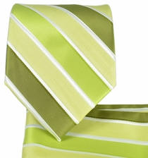 Green Striped Necktie and Pocket Square