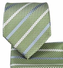 Green Striped Necktie and Pocket Square Set