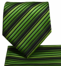 Green Striped Necktie and Pocket Square Set (Q576-I)