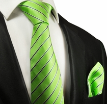 Green Striped Silk Tie and Pocket Square by Paul Malone Red Line