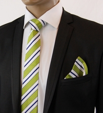 Green, White a. Navy SLIM Silk Tie Set by Paul Malone