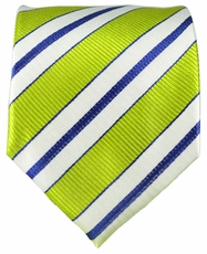 Green, White and Navy Paul Malone Silk Tie (103)
