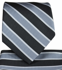 Grey and Black Striped Tie and Pocket Square