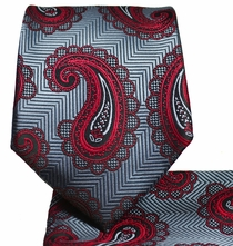 Grey and Burgundy Paisley Tie and Pocket Square
