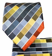 Grey and Gold Checkered Tie and Pocket Square