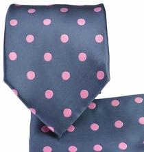 Grey and Pink Necktie and Pocket Square