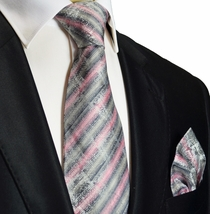 Grey and Pink Silk Tie and Pocket Square . Paul Malone Red Line